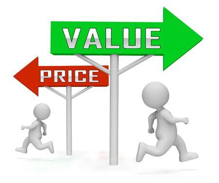 Preis-gegen-Wert-Zeichen zum Vergleich des Kostenaufwands mit dem finanziellen Wert. Produktpreisstrategie oder Investitionsbewertung - 3D-Darstellung