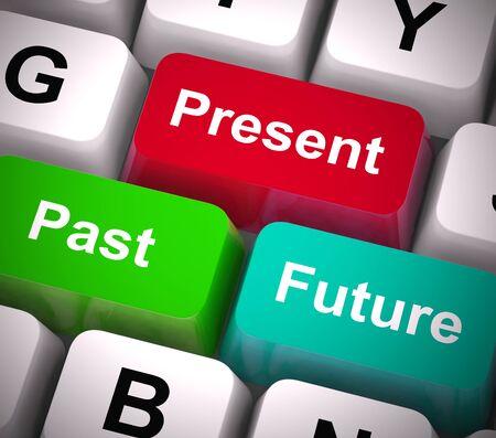Las claves de pasado, presente y futuro muestran un horario o un horario y un plan. Predecir o pronosticar el paso del tiempo - Ilustración 3d Foto de archivo