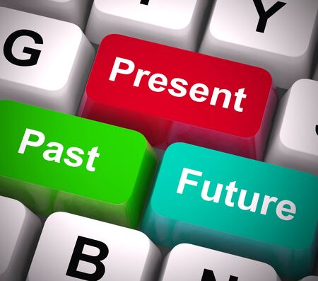 Past present future keys shows a timetable or schedule and plan. Predicting or forecasting the passage of time - 3d illustration Stock Photo