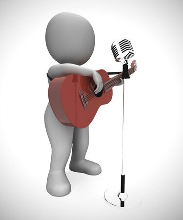Acoustic guitar music played by  musician at a concert. Entertainer on stage plays folk - 3d illustration