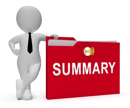 Executive Summary Folder Icon Showing Short Condensed Report Roundup 3d Illustration. Summing Up Information Or Analysis 版權商用圖片