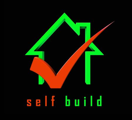 Self Build Construction Icon Representing House Building By Yourself. Advice On Real estate Planning And Renovation - 3d Illustration Stock Photo