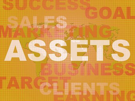 Assets concept icon depicts fixed assets like savings resources and net worth. Worldly goods like house or cash - 3d illustration