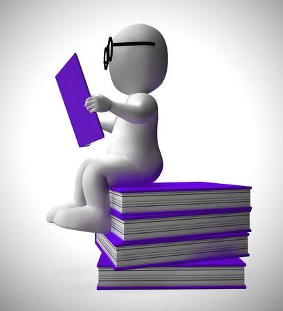 Het lezen van een boekkarakter staat voor onderwijs, geletterdheid en het opdoen van kennis. Een boekenwurm na ontwikkeling en wijsheid - 3d illustratie