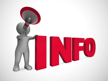 Info concept icon means information or data and Intelligence. Expertise or knowhow on a database - 3d illustration Imagens