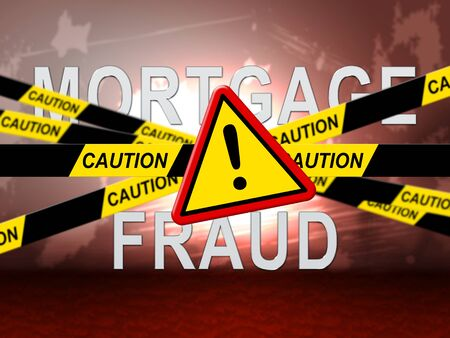 Mortgage Fraud Symbol Represents Property Loan Scam Or Refinance Con. Fraudster Doing Hoax For Finance Or Equity Release - 3d Illustration