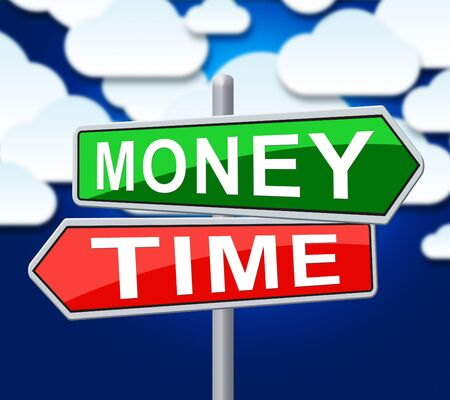 Time Vs Money Sign Contrasting Earning Money With Leisure Or Retirement. Quit And Live A Relaxing Life Or Work Harder - 3d Illustration