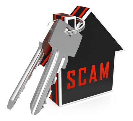 Property Scam Hoax Key Depicting Mortgage Or Real Estate Fraud. Residential Properties Realty Swindle - 3d Illustration