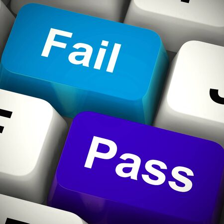 Pass and fail keys show contract approved or endorsed. Paperwork authorized and validated - 3d illustration