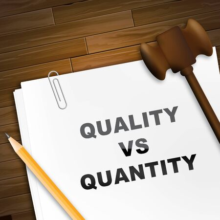 Quality Vs Quantity Note Depicting Balance Between Product Or Service Superiority Or Production. Value Versus Volume - 3d Illustration Imagens - 124928174