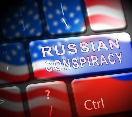 Russian Conspiracy Scheme Keyboard. Politicians Conspiring With Foreign Governments 3d Illustration. Complicity In Crime Against The Usa