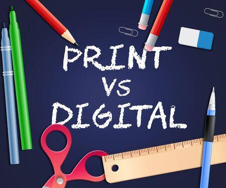 Afdrukken versus digitale woorden met gepubliceerde brochure versus digitale versie. Mediapublicatie tegen online advertentie - 3d illustratie Stockfoto
