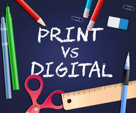 Print Vs Digital Words Showing Published Brochure Versus Digital Version. Media Publication Against Online Advertisement - 3d Illustration Stock fotó - 124928310