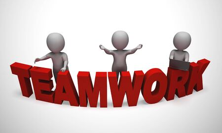 Team or teamwork concept icon means collective solidarity and collusion. Task force joining forces together - 3d illustration Stock Photo