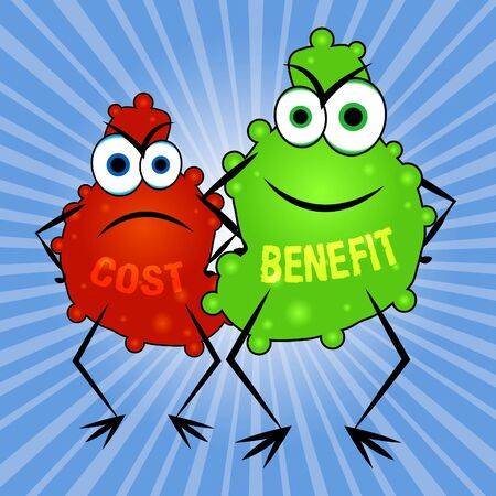 Benefit Versus Cost Creatures Means Value Gained Over Money Spent. Calculation Is Earnings Vs Expense - 3d Illustration Stock Photo