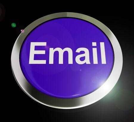 E-mailconceptpictogrammen betekent elektronische postcorrespondentie via internet. Online berichten verzenden betekent snelle communicatie - 3d illustratie Stockfoto