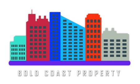 Gold Coast Property City Depicts Surfers Paradise Real Estate. Australian Houses And Apartments In Queensland - 3d Illustration 写真素材