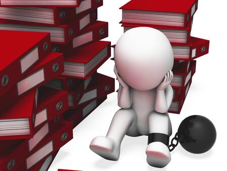 Overworked man has too many projects and is fatigued. Business paperwork stacked and causing a problem - 3d illustration Banco de Imagens
