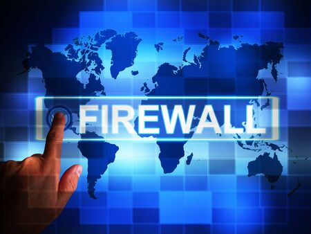 Firewall concept icon means protecting your computer or system from viruses. Software for safeguarding illegal Intruders - 3d illustration