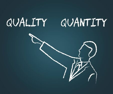 Quality Vs Quantity Words Depicting Balance Between Product Or Service Superiority Or Production. Value Versus Volume - 3d Illustration Banco de Imagens