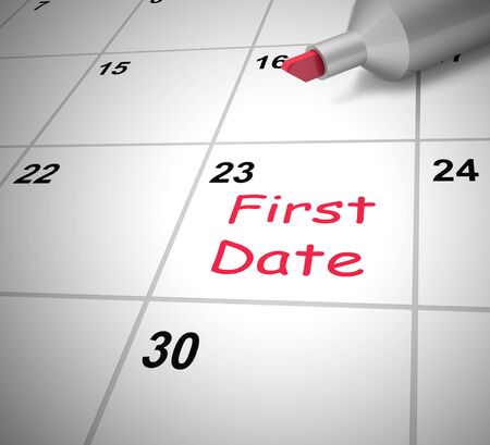 First date meeting in a diary shows the initial meeting for romance. A couple dating on this day scheduled - 3d illustration