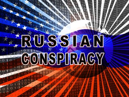 Russian Conspiracy Scheme Globe. Politicians Conspiring With Foreign Governments 3d Illustration. Complicity In Crime Against The Usa