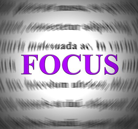 Focus concept icon means concentrating or focal point on the camera. Essential point to concentrate on and main objective - 3d illustration Stock Photo