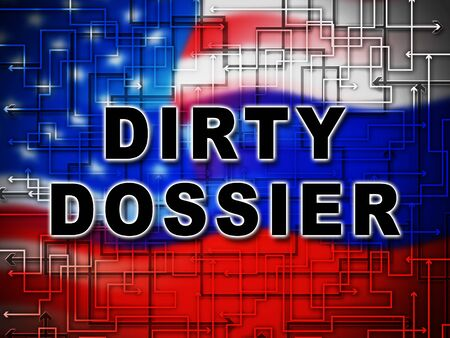 Dirty Dossier Flag Containing Political Information On The American President 3d Illustration. Investigation Data From Spying On Russia Archivio Fotografico