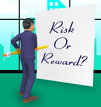 Risk Vs Reward Strategy Note Depicts The Hazards In Obtaining Success. Taking A Chance To Get A Return On Investment - 3d Illustration