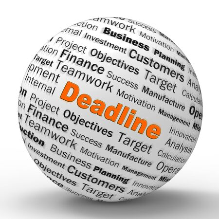 Deadline cut off means urgent action or due date. Planned time ending soon - 3d illustration Stock Photo