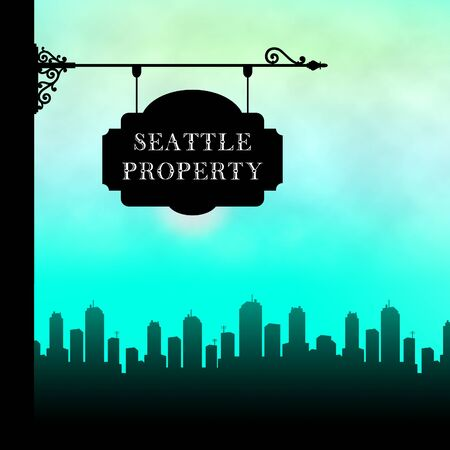 Seattle Real Estate Property City Depicting Housing In Washington State. Houses And Apartments In The Coastal City - 3d Illustration