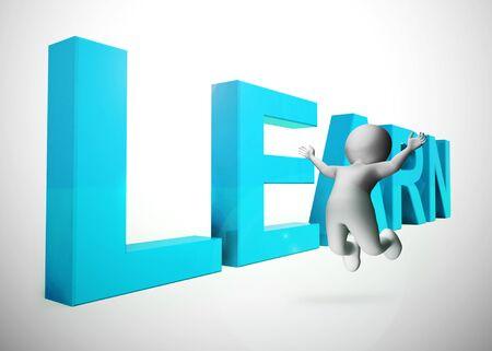 Apprendre l'icône de concept signifie étudier et comprendre. Formation continue dans une école ou par coaching - illustration 3d