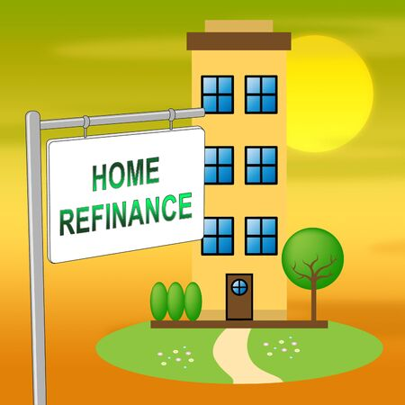 Refinance Your Home Icon Representing Home Equity Line Of Credit. Finance From Ownership Of Houses Or Apartments - 3d Illustration
