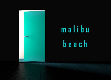 Malibu Beach House Property Door Shows Real Estate Development For Investment. Pacific Development Housing Apartment Or Home - 3d Illustration Banco de Imagens