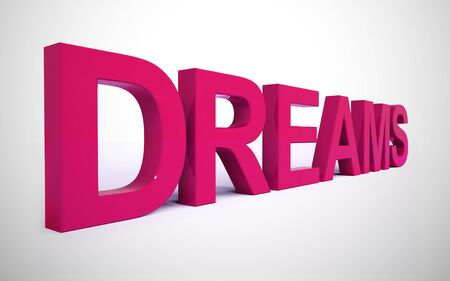 Dream big message means daydreaming about the future. Believing in big aspirations increases motivation - 3d illustration