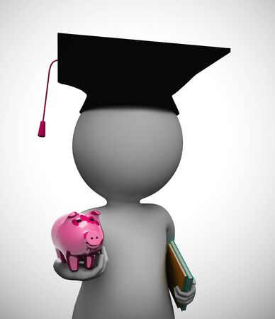 Piggy banks show saving money for school and education. Provisions for higher learning and knowledge - 3d illustration