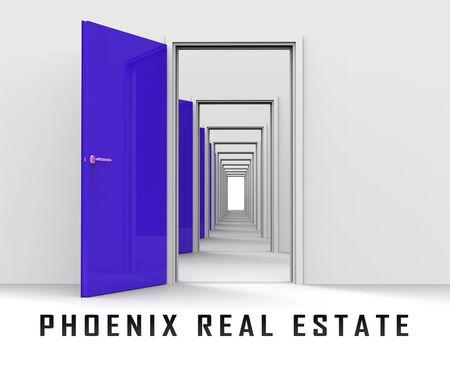 Phoenix Real Estate Doorway Depicting Arizona Property For Sale. Housing Investment Buildings Or Rental Developments - 3d Illustration