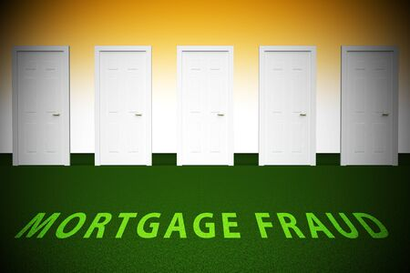 Mortgage Fraud Doorway Represents Property Loan Scam Or Refinance Con. Fraudster Doing Hoax For Finance Or Equity Release - 3d Illustration Reklamní fotografie