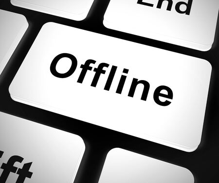 Tasto offline significa utilizzare il computer quando è disconnesso da Internet. Web o comunicazioni online interrotte - illustrazione 3d