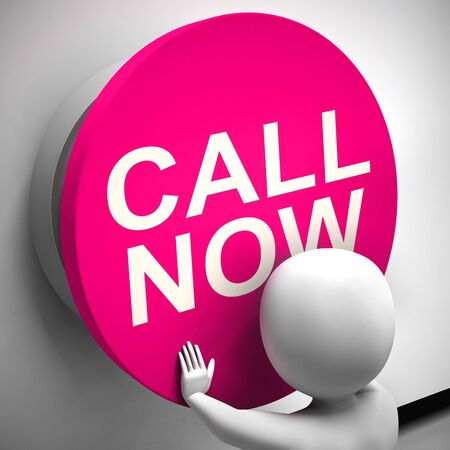 Call now button for contacting help desk using voip. Urgent assistance without delay icon - 3d illustration Stockfoto