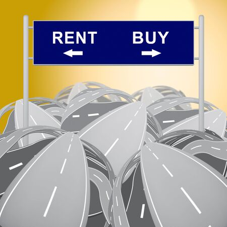 Rent Vs Buy Sign Comparing House Or Apartment Renting And Buying. Investment Or Home Ownership Of Property - 3d Illustration Banco de Imagens