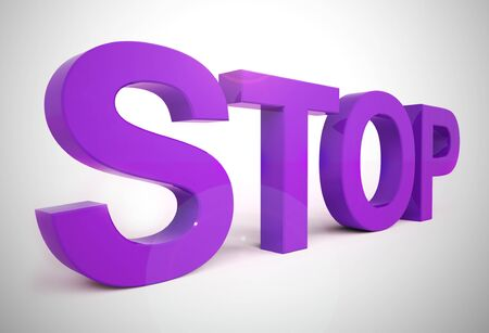 Stop concept icon means hold quit or cease. Stopping due to problem or notice of ban - 3d illustration