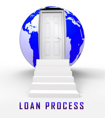 Home Loan Process Doorway Depicts Mortgage Stages For Borrowing Money. Financial Property Purchase Method Advisor  - 3d Illustration