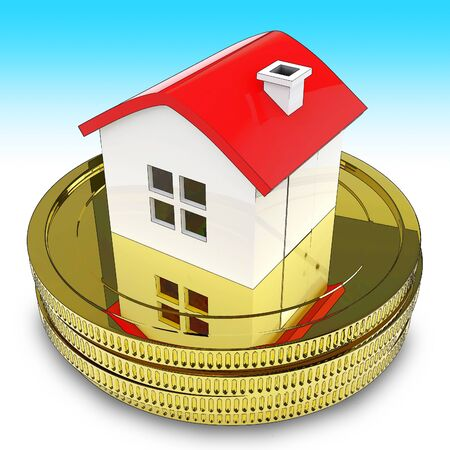 Home Equity Line Of Credit Loan Coins Represents Property Refinancing. Finance Lending Using Value From Real Estate Assets - 3d Illustration