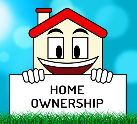 Homeownership Icon Shows Owning A House Or Real Estate. Purchasing Agreement For A New Dream Home - 3d Illustration