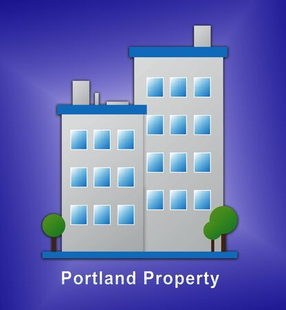 Portland Oregon Homes Or Real Estate Icon Showing Home Purchases. Realty And Rentals In America - 3d Illustrations Stock Photo
