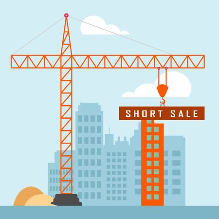 Short Sale House Or Real Estate Building Means Loss On Home Investment. Housing Money Losing Due To Economy Or Insolvency - 3d illustration