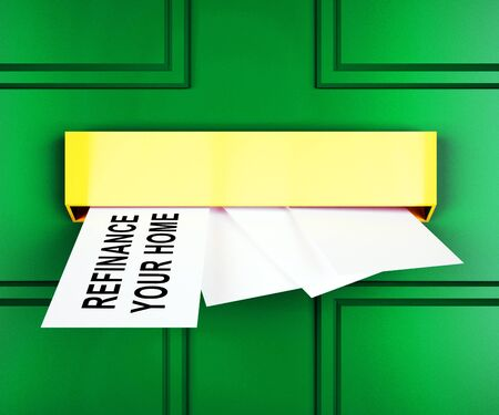 Refinance Your Home Door Representing Home Equity Line Of Credit. Finance From Ownership Of Houses Or Apartments - 3d Illustration