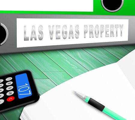 Las Vegas Real Estate Folder Depicts Houses And Homes In Nevada. Property Purchases And Development Sales - 3d Illustration Stock Photo