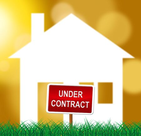 Home Under Contract Icon Depicting Real Estate Purchase Completed. Legal Documents Finished And House Offer Agreed  - 3d Illustration Banco de Imagens